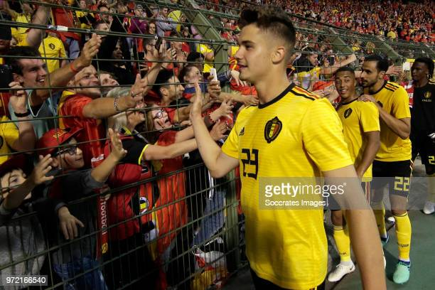 Leander Dendoncker of Belgium thanking supporters during the International Friendly match between Belgium v Costa Rica at the Koning Boudewijnstadion...