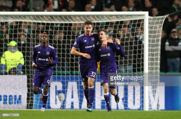 Leander Dendoncker of RSC Anderlecht and Pieter Gerkens of RSC Anderlecht celebrate their sides first goal after Jozo Simunovic of Celtic scored a...