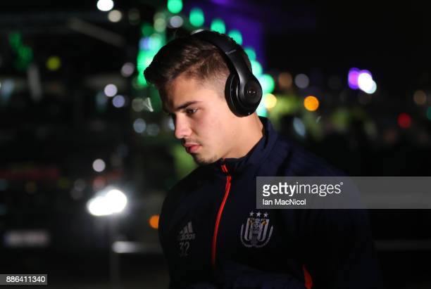 Leander Dendoncker of RSC Anderlecht arrives for the UEFA Champions League group B match between Celtic FC and RSC Anderlecht at Celtic Park on...