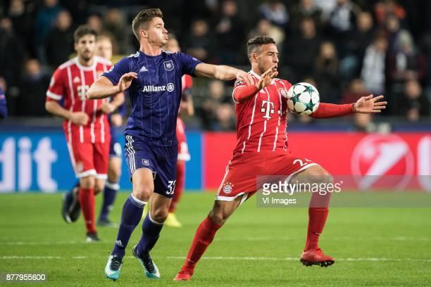 Leander Dendoncker of RSC Anderlecht Corentin Tolisso of FC Bayern Munich during the UEFA Champions League group B match between RSC Anderlecht and...