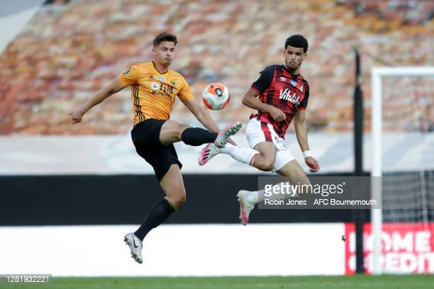 Leander Dendoncker of Wolverhampton Wanderers and Dominic Solanke of Bournemouth during the Premier League match between Wolverhampton Wanderers and...