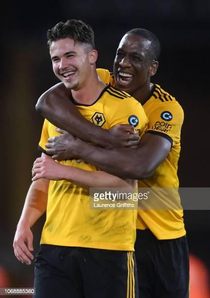 Leander Dendoncker of Wolverhampton Wanderers and Willy Boly of Wolverhampton Wanderers celebrate during the Premier League match between...