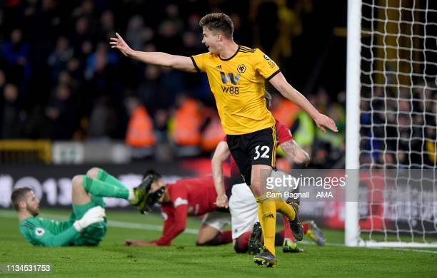 Leander Dendoncker of Wolverhampton Wanderers celebrates after scoring a goal to make it 21 during the Premier League match between Wolverhampton...
