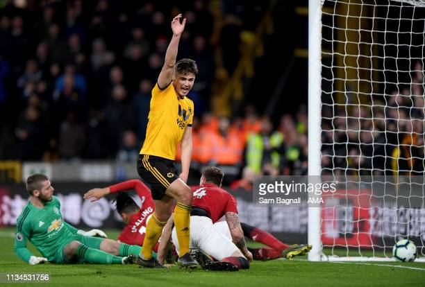 Leander Dendoncker of Wolverhampton Wanderers celebrates after scoring a goal to make it 21 during the Premier League match between Wolverhampton...