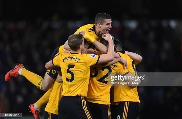 Leander Dendoncker of Wolverhampton Wanderers celebrates after scoring a goal to make it 21 with Conor Coady of Wolverhampton Wanderers during the...