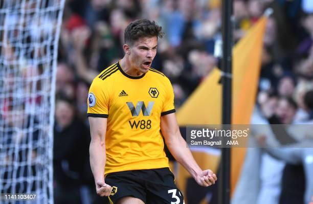 Leander Dendoncker of Wolverhampton Wanderers celebrates after scoring a goal to make it 10 during the Premier League match between Wolverhampton...