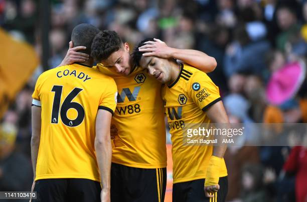 Leander Dendoncker of Wolverhampton Wanderers celebrates after scoring a goal to make it 10 during the Premier League match between Wolverhampton...