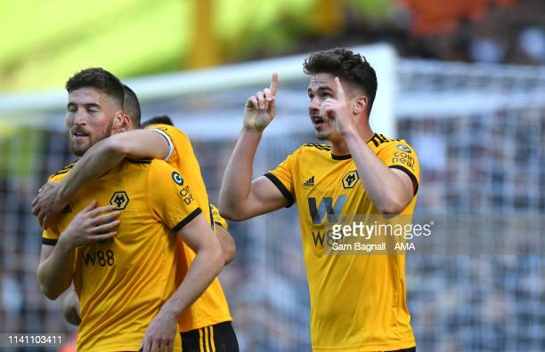 Leander Dendoncker of Wolverhampton Wanderers celebrates after scoring a goal to make it 1-0 during the Premier League match between Wolverhampton...