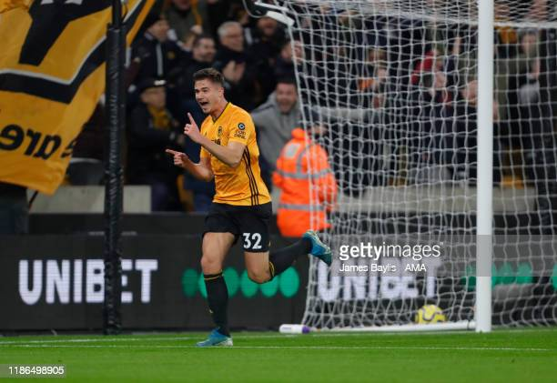 Leander Dendoncker of Wolverhampton Wanderers celebrates after scoring a goal to make it 1-0 during the Premier League match between Wolverhampton...