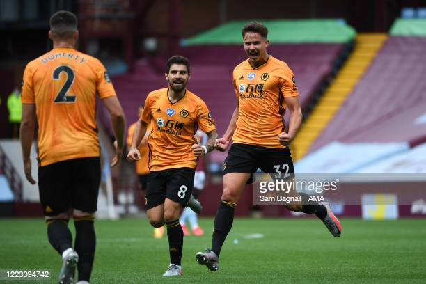 Leander Dendoncker of Wolverhampton Wanderers celebrates after scoring a goal to make it 01 during the Premier League match between Aston Villa and...