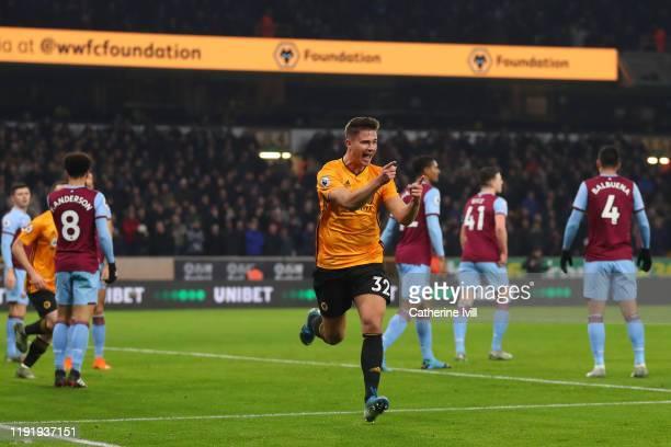Leander Dendoncker of Wolverhampton Wanderers celebrates after scoring his team's first goal during the Premier League match between Wolverhampton...