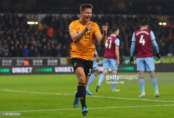 Leander Dendoncker of Wolverhampton Wanderers celebrates after scoring his team's first goal during the Premier League match between Wolverhampton...