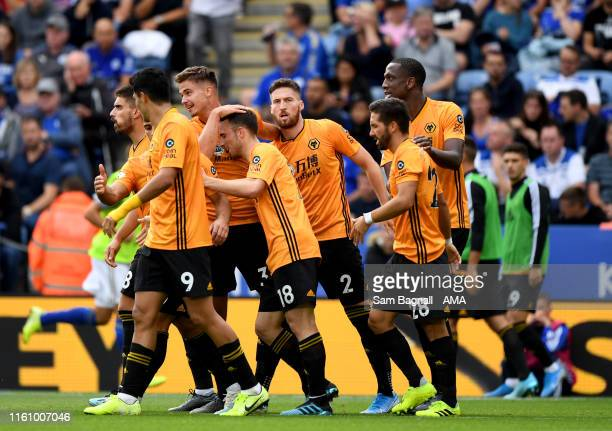 Leander Dendoncker of Wolverhampton Wanderers celebrates before seeing his goal cancelled out after a VAR decision during the Premier League match...