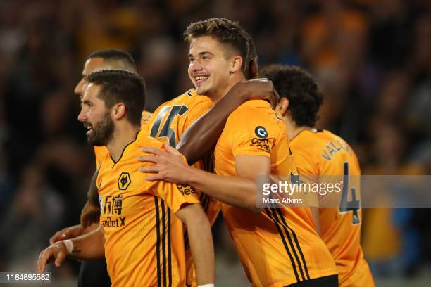 Leander Dendoncker of Wolverhampton Wanderers celebrates scoring their 2nd goal during the UEFA Europa League Play-Off: Second Leg between...