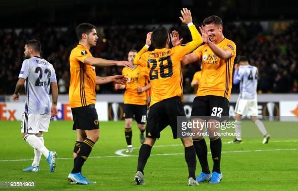 Leander Dendoncker of Wolverhampton Wanderers celebrates scoring his teams third goal during the UEFA Europa League group K match between...