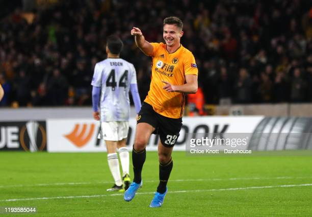 Leander Dendoncker of Wolverhampton Wanderers celebrates scoring his teams third goal during the UEFA Europa League group K match between...