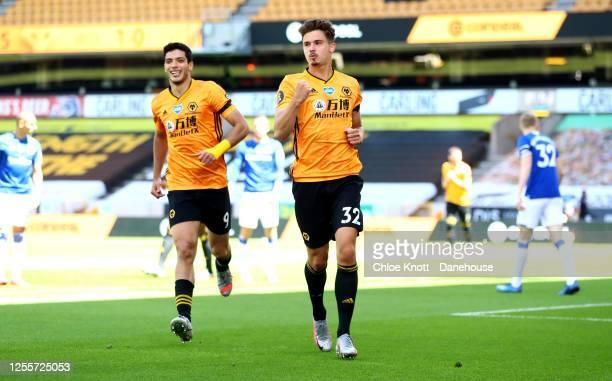 Leander Dendoncker of Wolverhampton Wanderers celebrates scoring his teams second goal during the Premier League match between Wolverhampton...