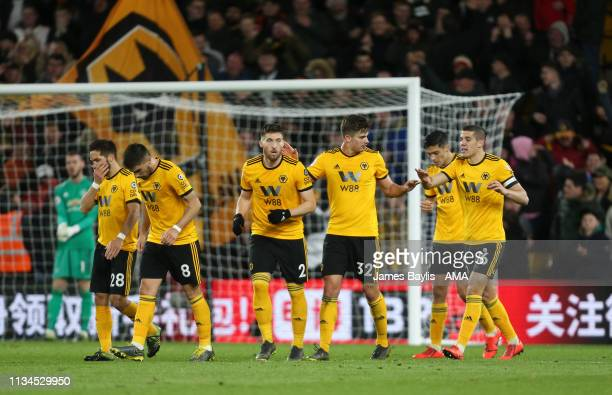 Leander Dendoncker of Wolverhampton Wanderers celebrates with his team mates after scoring a goal to make it 21 during the Premier League match...