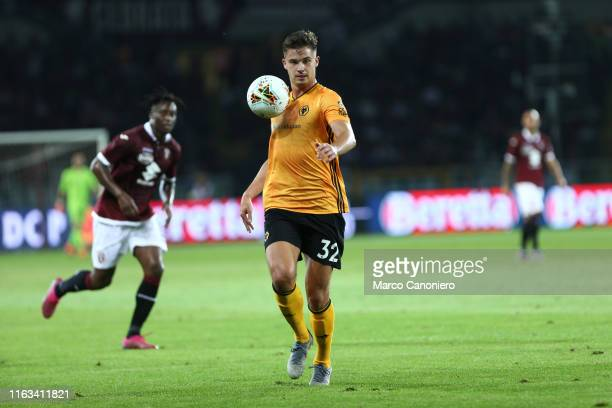 Leander Dendoncker of Wolverhampton Wanderers Fc in action during the UEFA Europa League playoff first leg football match between Torino Fc and...