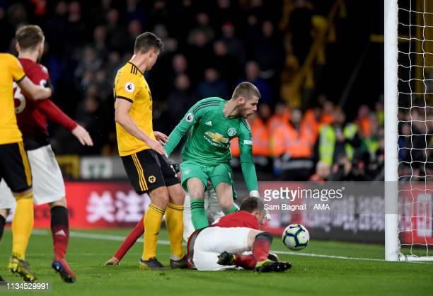 Leander Dendoncker of Wolverhampton Wanderers scores a goal to make it 21 during the Premier League match between Wolverhampton Wanderers and...