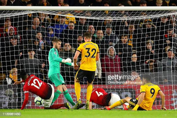 Leander Dendoncker of Wolverhampton Wanderers scores his side's second goal during the Premier League match between Wolverhampton Wanderers and...