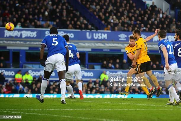 Leander Dendoncker of Wolverhampton Wanderers scores his side's third goal during the Premier League match between Everton FC and Wolverhampton...