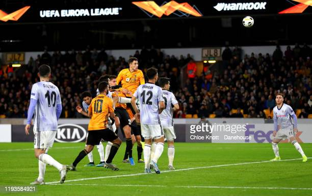 Leander Dendoncker of Wolverhampton Wanderers scores his teams third goal during the UEFA Europa League group K match between Wolverhampton Wanderers...