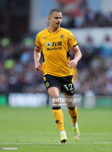 Leander Dendoncker of Wolves during the Premier League match between Aston Villa and Wolverhampton Wanderers at Villa Park on October 16, 2021 in...