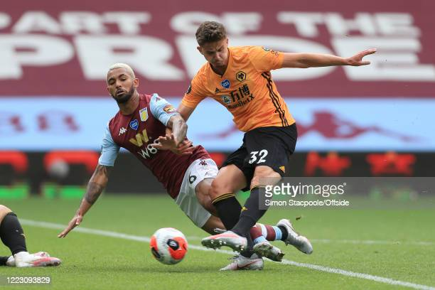 Leander Dendoncker of Wolves scores their 1st goal during the Premier League match between Aston Villa and Wolverhampton Wanderers at Villa Park on...