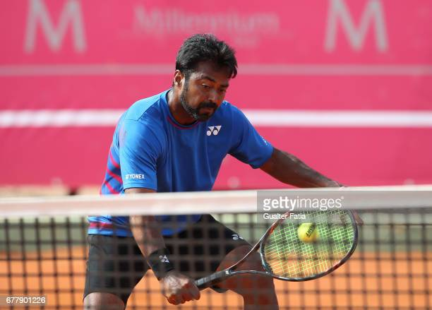 Leander Paes in action during the match between Renzo Olivo from Argentina/Benoit Paire from France and Leander Paes from India/Andre Sa from Brazil...
