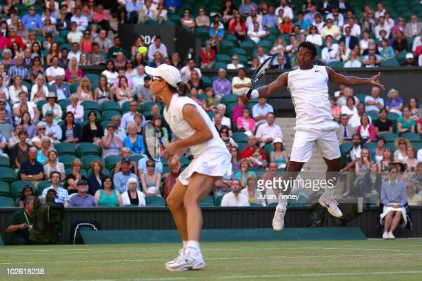 Leander Paes of India and Cara Black of Zimbabwe in action during their Mixed Doubles Final match against Wesley Moodie of South Africa and Lisa...