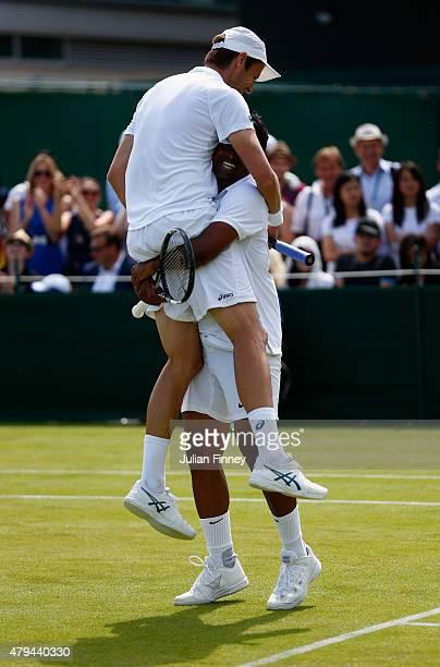 Leander Paes of India and partner Daniel Nestor of Canada celebrate winning in the Gentlemens Doubles Second Round match against Teymuraz Gabashvili...