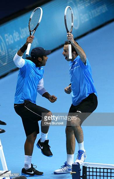 Leander Paes of India and Radek Stepanek of Czech Republic celebrate a point during the men's doubles match against Marcel Granollers of Spain and...