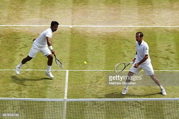 Leander Paes of India and Radek Stepanek of Czech Republic during their Gentlemen's Doubles QuarterFinal match against Nenad Zimonjic of Serbia and...