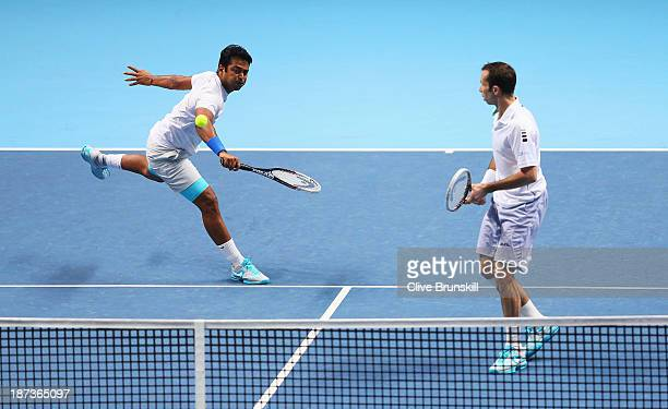 Leander Paes of India and Radek Stepanek of the Czech Republic in action in their men's doubles match against Marcel Granollers and Marc Lopez of...
