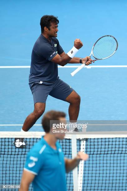 Leander Paes of India celebrates winning a point in his second round men's doubles match with Purav Raja of India against Jamie Murray of Great...