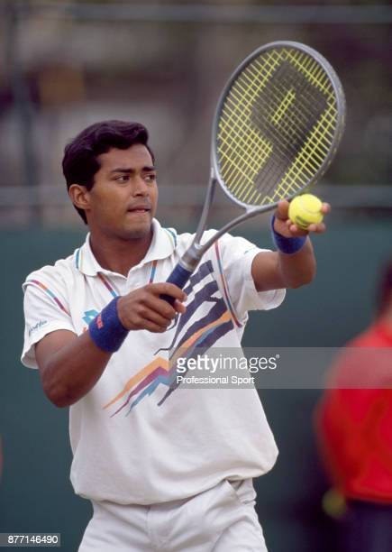 Leander Paes of India in action during the Sam Whitbread Cup a junior tournament at the Stella Artois Championships at the Queen's Club in London...