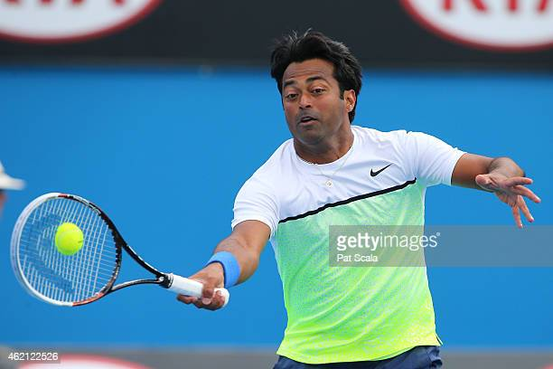 Leander Paes of India in action in their first round mixed doubles match with Martina Hingis of Switzerland against Masa Jovanovic and Sam Thompson...