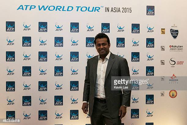 Leander Paes poses for a picture pose for a picture at ATP World Tour in Asia 2015 on October 12 2015 in Shanghai China