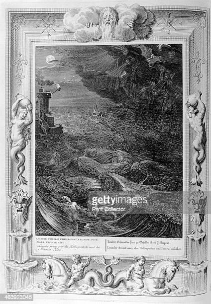 'Leander Swims Over the Hellespont to Meet his Mistress Hero' 1733 A plate from Le temple des Muses Amsterdam 1733 Fround in the collection of Jean...