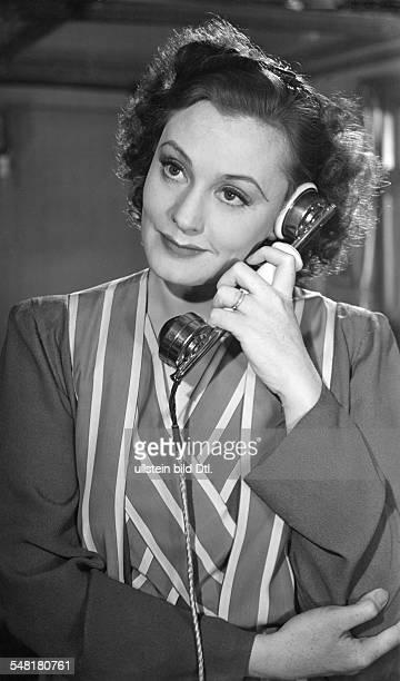 Leander Zarah Actress singer Sweden * Scene from the movie 'Der Blaufuchs' Zarah Leander on the phone Directed by Viktor Tourjansky Germany 1938...