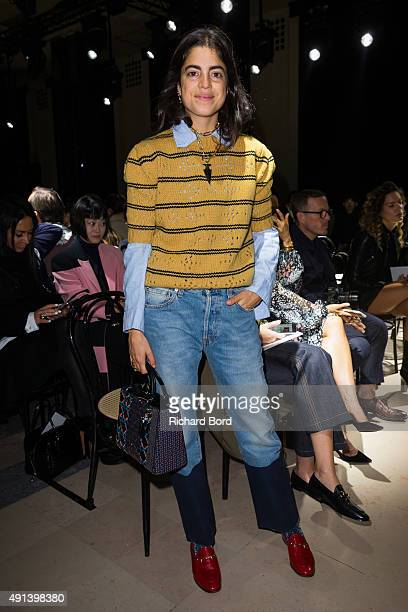 Leandra Medine attends the Sacai show as part of the Paris Fashion Week Womenswear Spring/Summer 2016 at Theatre National de Chaillot on October 5...
