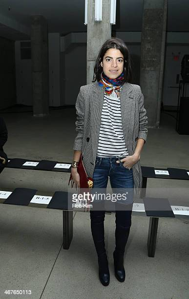 Leandra Medine attends the Sally LaPointe show during MercedesBenz Fashion Week Fall 2014 at Skylight Modern on February 7 2014 in New York City