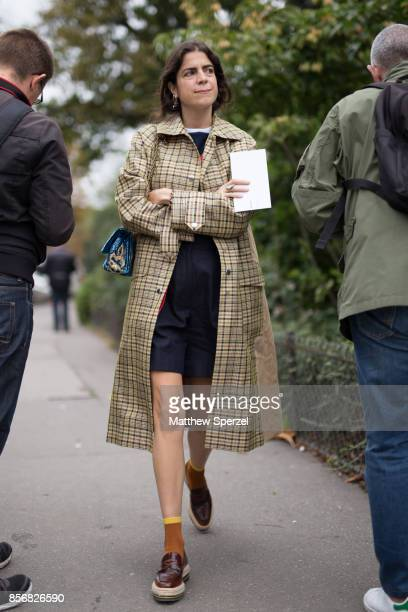 Leandra Medine is seen attending Sacai during Paris Fashion Week wearing Sacai on October 2 2017 in Paris France