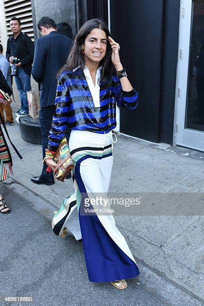 Leandra Medine is seen leaving the JCrew presentation during New York Fashion Week The Shows at Skylight Clarkson Sq on September 16 2015 in New York...