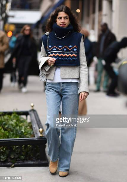 Leandra Medine is seen outside the Ralph Lauren show during New York Fashion Week Women's Fall/Winter 2019 on February 07 2019 in New York City