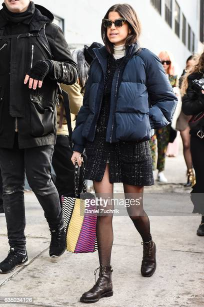 Leandra Medine is seen wearing a blue puff coat outside of the 31 Phillip Lim show during New York Fashion Week Women's Fall/Winter 2017 on February...