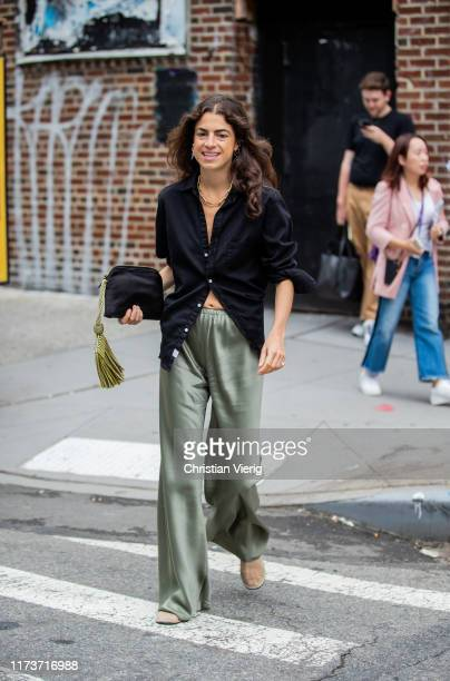 Leandra Medine is seen wearing silk pants, black button shirt outside Gabriela Hearst during New York Fashion Week September 2019 on September 10,...