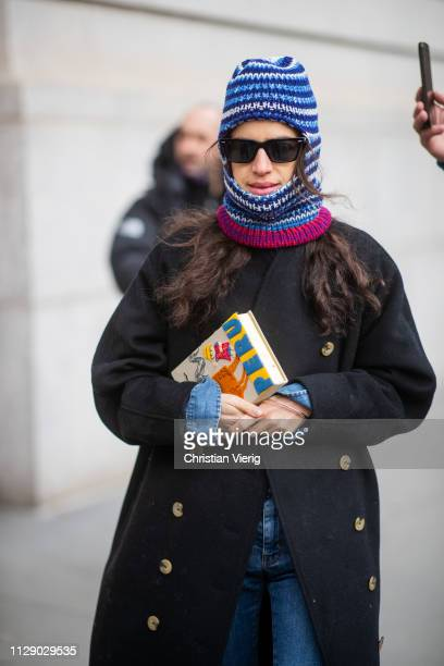 Leandra Medine is seen wearing ski mask outside Carolina Herrera during New York Fashion Week Autumn Winter 2019 on February 11, 2019 in New York...