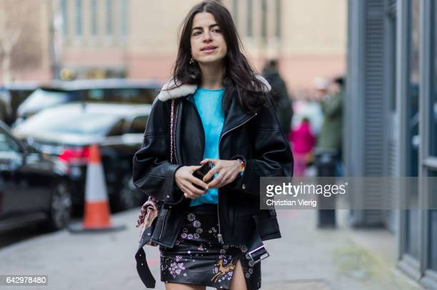 Leandra Medine wearing a black leather jacket mini skirt outside Topshop Unique on day 3 of the London Fashion Week February 2017 collections on...